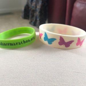 Dance marathon and butterfly rubber bracelets